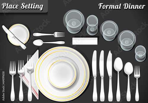 Fotografía  Set of Place Setting Formal Dinner Vector Placemat