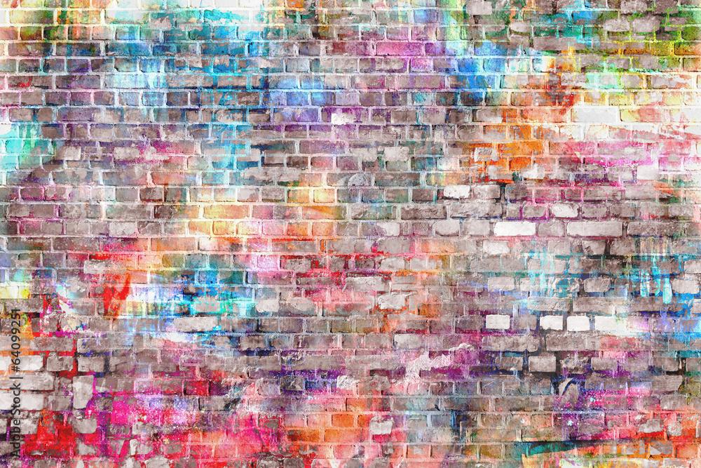 Colorful grunge art wall illustration, background