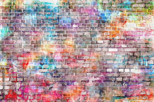 Foto op Canvas Graffiti Colorful grunge art wall illustration, background
