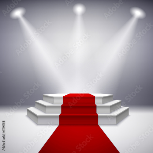 Papiers peints Lumiere, Ombre Illuminated stage podium with red carpet