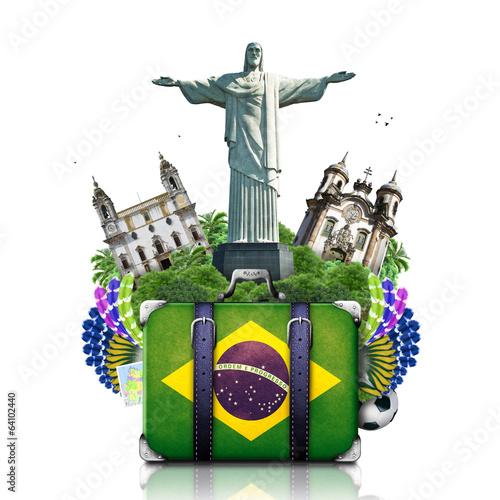 Fotografia  Brazil, Brazil landmarks, travel and retro suitcase