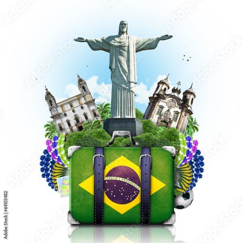 Fotografie, Obraz  Brazil, Brazil landmarks, travel and retro suitcase