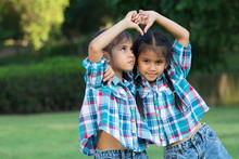 Twin Kids Playing