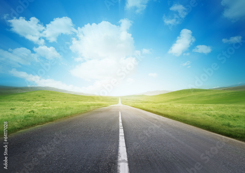 Foto op Canvas Pool Fast Road Through The Countryside