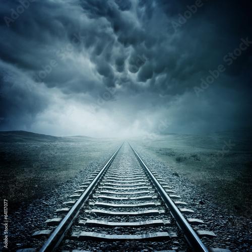 Poster Voies ferrées Dark Railway Track