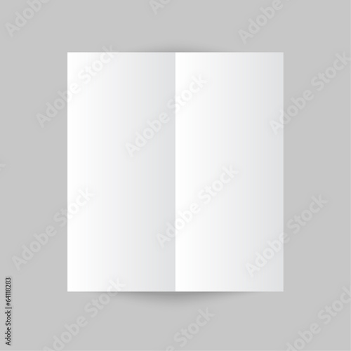 white stationery blank trifold paper brochure on gray backgroun