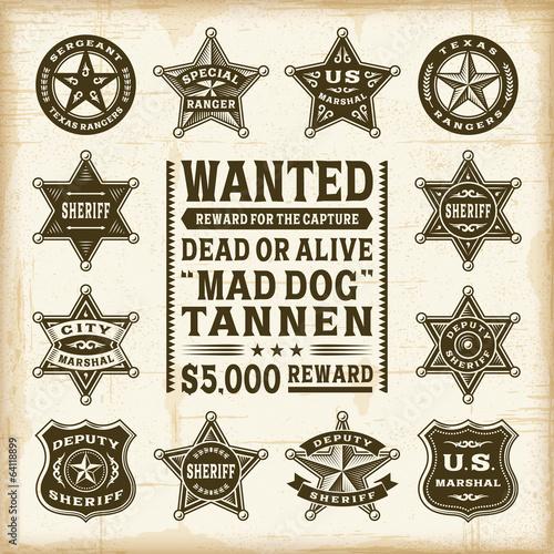 Vintage sheriff, marshal and ranger badges set Wallpaper Mural