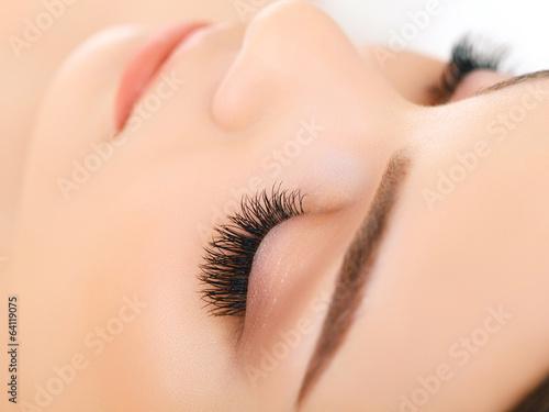 Woman Eye with Long Eyelashes. Eyelash Extension Tablou Canvas