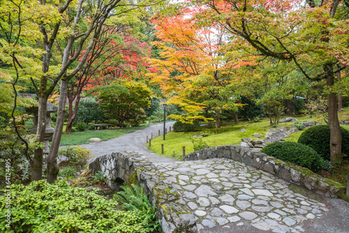 Fall Foliage Stone Bridge Japanese Garden - 64124495