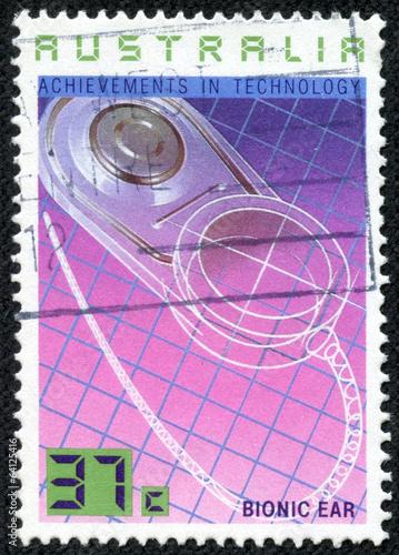 Fotografie, Obraz  Stamp printed in AUSTRALIA shows the Bionic Ear