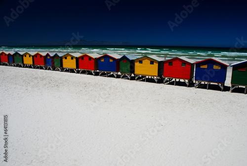 Foto op Canvas Zuid Afrika Colorful beach cabins. Muizenberg, South Africa