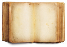 Old Book Open Blank Pages, Empty Yellow Paper Isolated On White