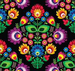 Seamless traditional floral Polish pattern on black