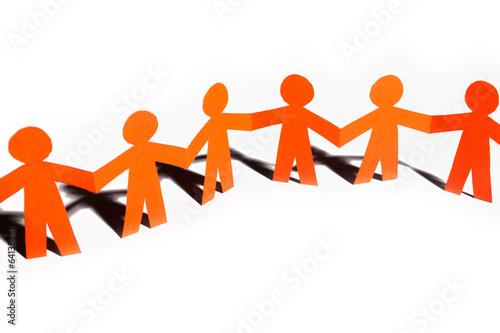 Fotografía  Paper team linked together partnership concept