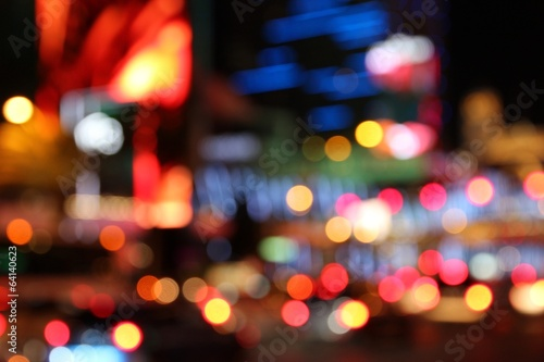 Tuinposter Las Vegas Las Vegas night - defocused city lights