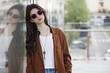 Leinwanddruck Bild Girl portrait in the city