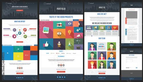 Flat Website Template – kaufen Sie diese Vektorgrafik und finden Sie ...