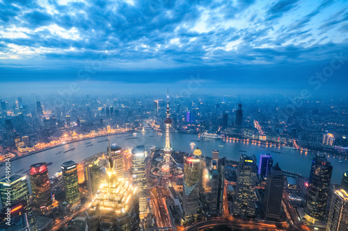 Foto op Aluminium Shanghai nightfall view of shanghai