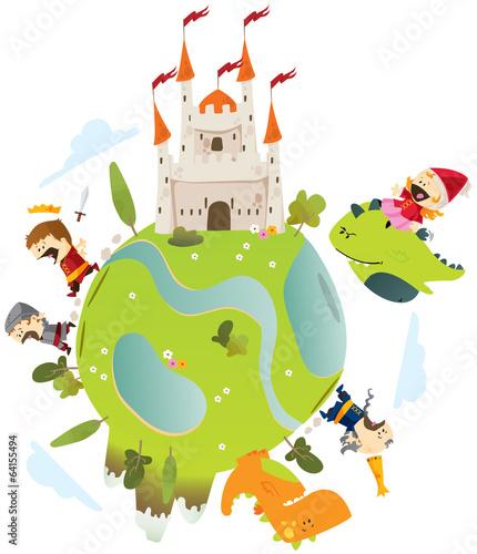 Foto op Canvas Kasteel conte dragons et princesse