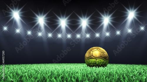 Fototapeta premium Arena piłkarska i złota piłka, stadion piłkarski