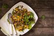 Lauwarmer Linsensalat mit Röstkartoffeln von oben