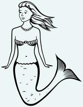 Cute Mermaid With Curly Hair
