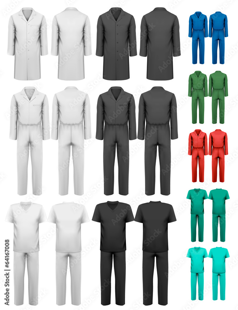 Set Of Overalls With Worker And Medical Clothes Design Template Foto Poster Wandbilder Bei EuroPosters