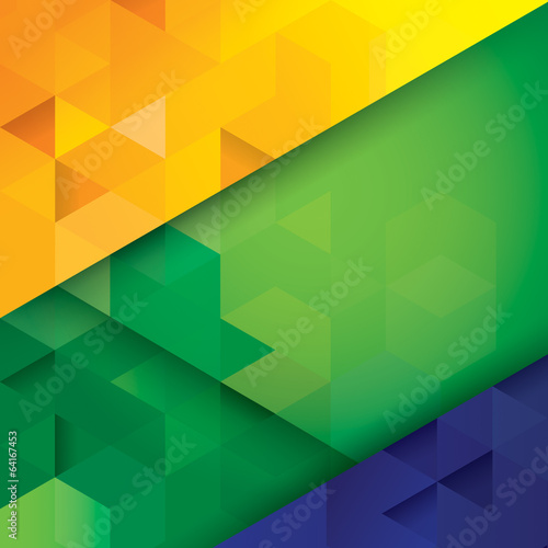 Foto  Brazil color geometry vector background.