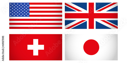 Fototapeta zestaw flag obraz
