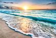 canvas print picture - Sunrise over beach in Cancun