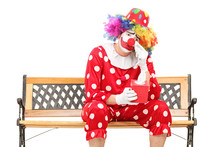 Sad Clown Wiping His Eyes From Crying