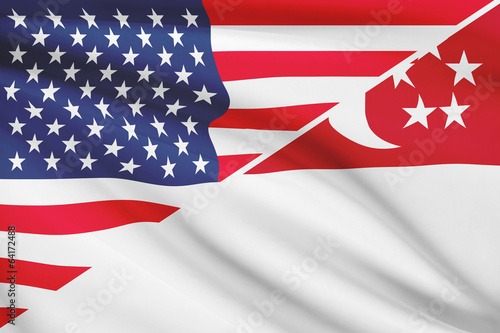 Series of ruffled flags. USA and Republic of Singapore. Poster