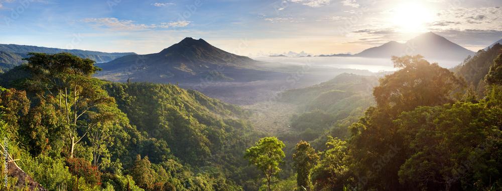 Fototapeta Panorama of Batur and Agung volcano mountain Bali, Indonesia