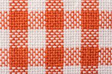Orange Checked Kitchen Towel Texture Close Up