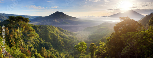 Wall Murals Indonesia Panorama of Batur and Agung volcano mountain Bali, Indonesia