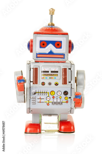 Foto  Robot vintage toy on white, clipping path