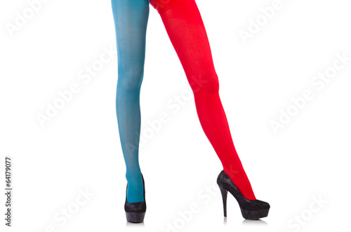 55fb7990c46a8 Striped leggings isolated on the white - Buy this stock photo and ...