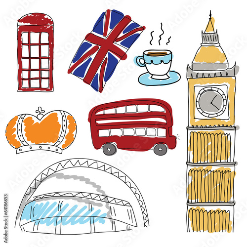 Cuadros en Lienzo Vector symbols of United Kingdom