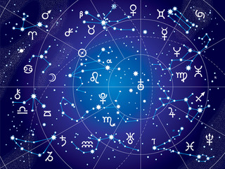Obraz na Szkle Kosmos XII Constellations of Zodiac and Its Planets the Sovereigns. Astrological Celestial Chart. (Ultraviolet Blueprint version).