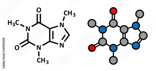 Photo Caffeine stimulant molecule. Present in coffee, tea, ...