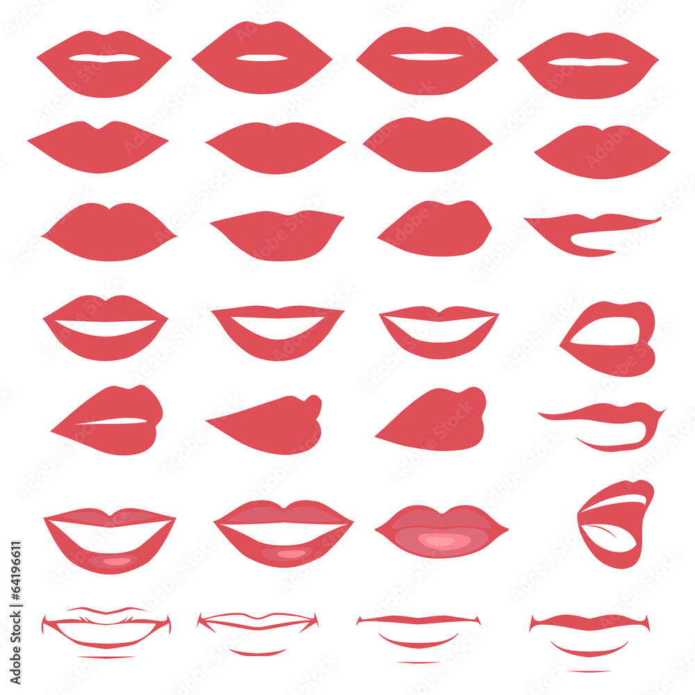 Fototapety, obrazy: man and woman vector lips and mouth,  silhouette and glossy,
