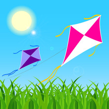 Pair Of Colorful Kites Fly On ...