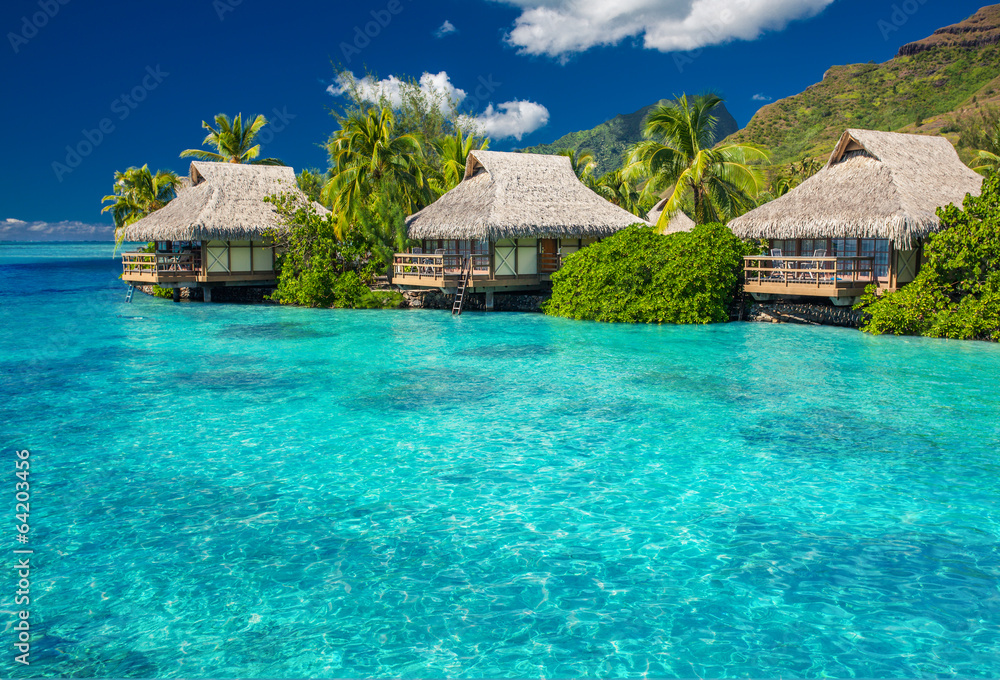 Fototapeta Overwater villas in lagoon of Moorea Island