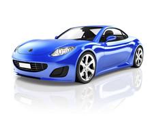 3D Luxury Blue Sports Car
