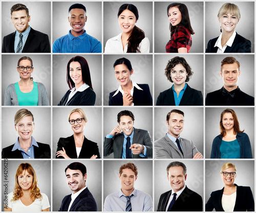 Fotografie, Obraz  Composition of diverse people smiling