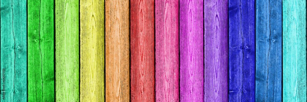 Fototapety, obrazy: Regenbogenfarben auf Holz