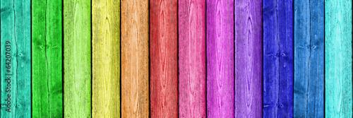 Fotografía  Regenbogenfarben auf Holz