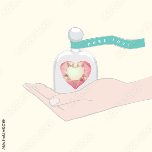Fotografía  Hand giving the gift of a heart under a glass dome