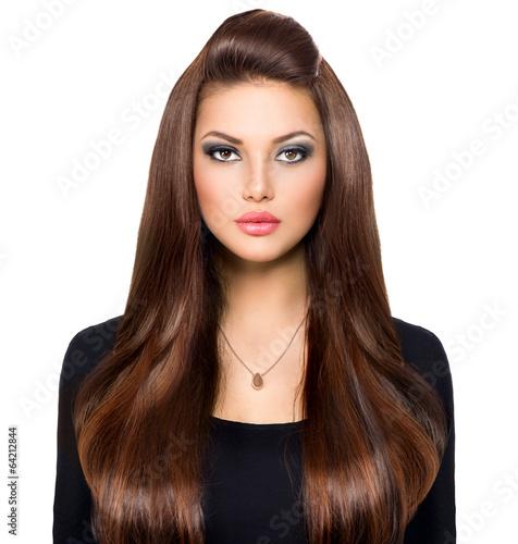 Poster - Beauty Girl Looking at Camera. Long and Shiny Brown Hair