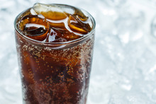 Cold Cola Soda Drink With Ice Cubes